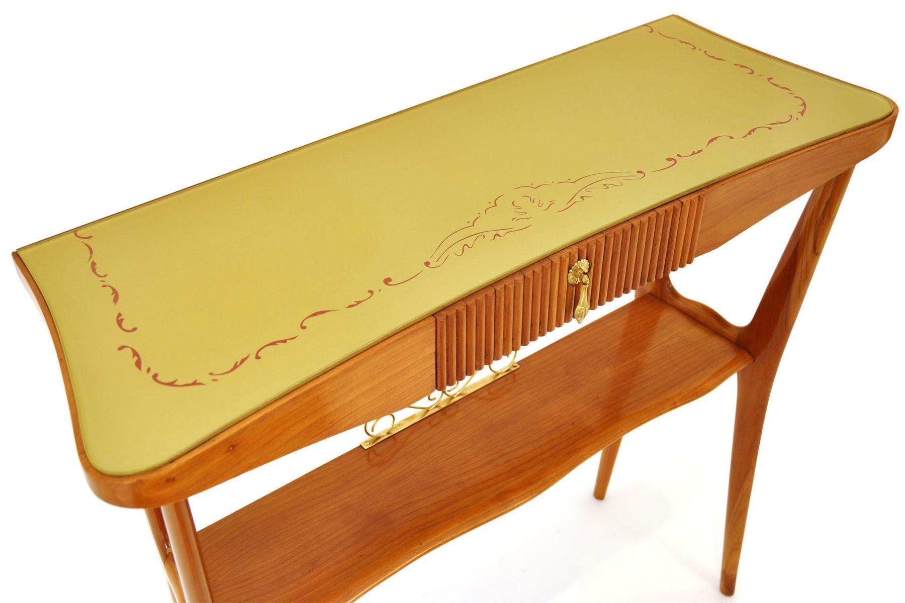 italienischer konsolentisch aus holz glas 1950er bei pamono kaufen. Black Bedroom Furniture Sets. Home Design Ideas