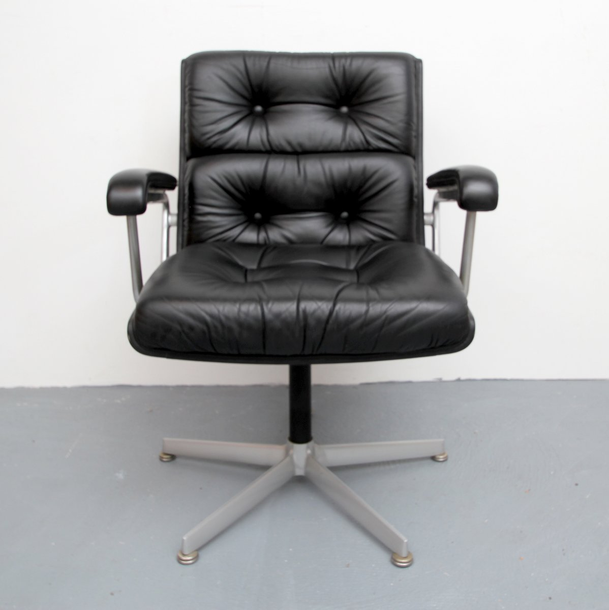black leather office chair from girsberger, 1960s for sale at pamono