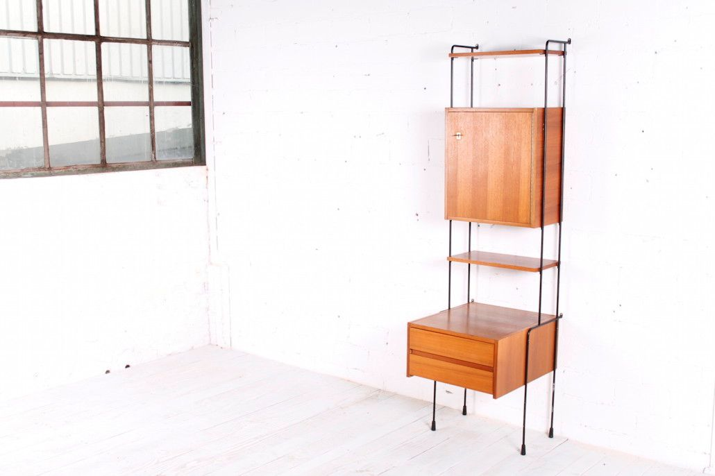 wall mounted shelving system 1960s for sale at pamono. Black Bedroom Furniture Sets. Home Design Ideas
