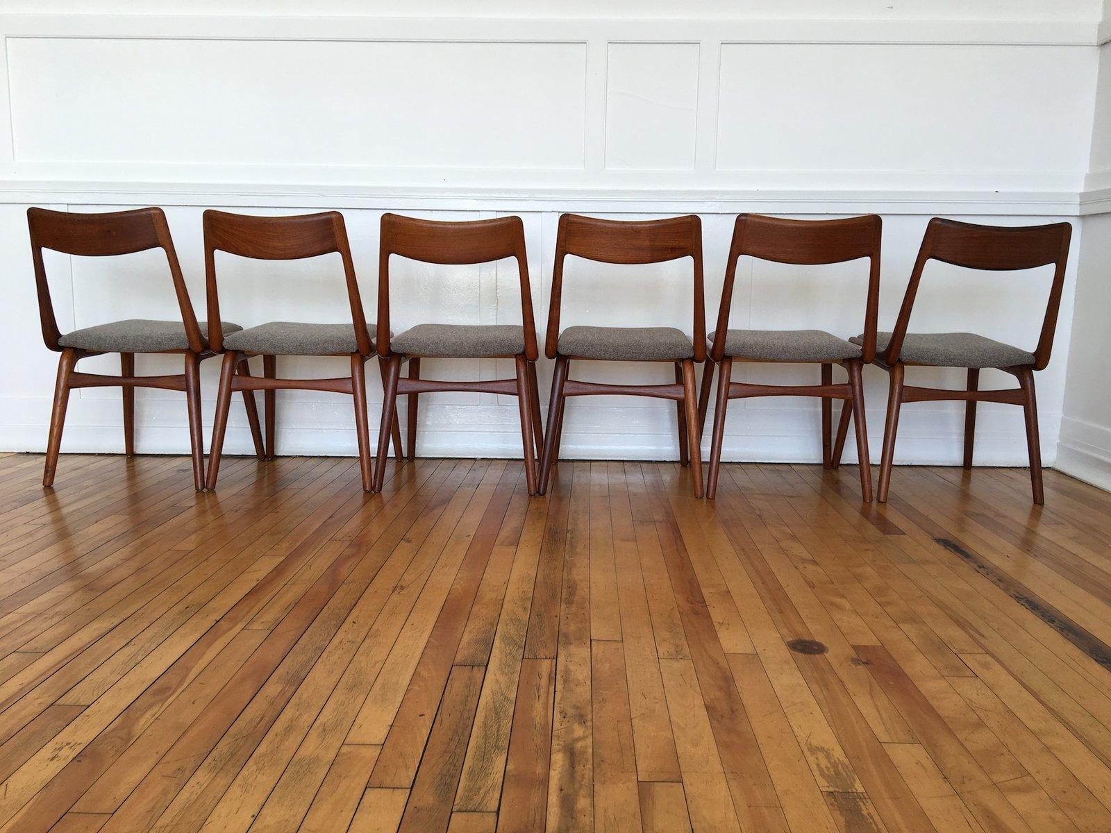 Vintage Danish Teak Boomerang Dining Chairs by Erik Christensen