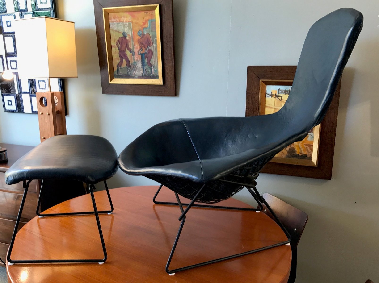 Mid Century Bird Chair & Ottoman by Harry Bertoia for Knoll for