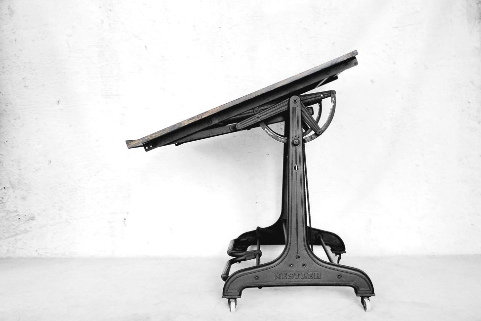 Awesome Industrial Drafting Table From Nestler, 1930s