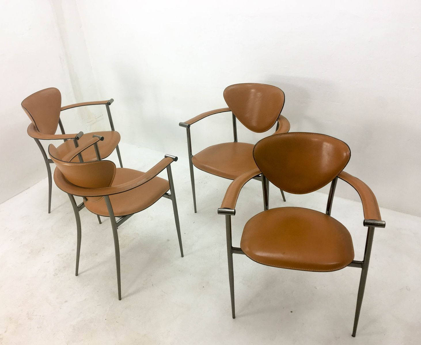 Italian Leather Armchairs From Arrben, 1960s, Set Of 4