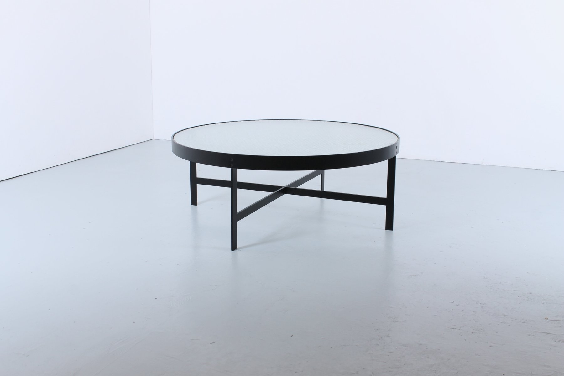 Mid Century Round Black Frosted Wire Glass Coffee Table By Jannie Van Pelt  For My Home