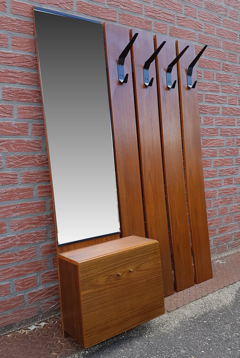 mid century wall mounted coat rack with mirror for sale at. Black Bedroom Furniture Sets. Home Design Ideas
