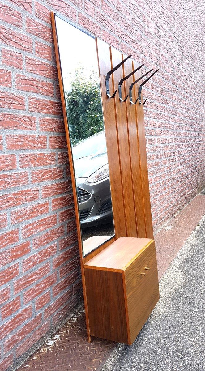h ngende mid century garderobe mit spiegel bei pamono kaufen. Black Bedroom Furniture Sets. Home Design Ideas