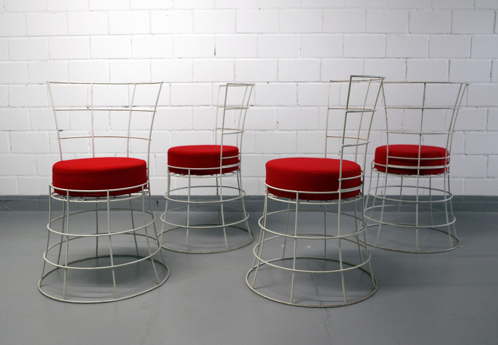 Mid Century French Wire Garden Chairs Set of 4 for sale at Pamono