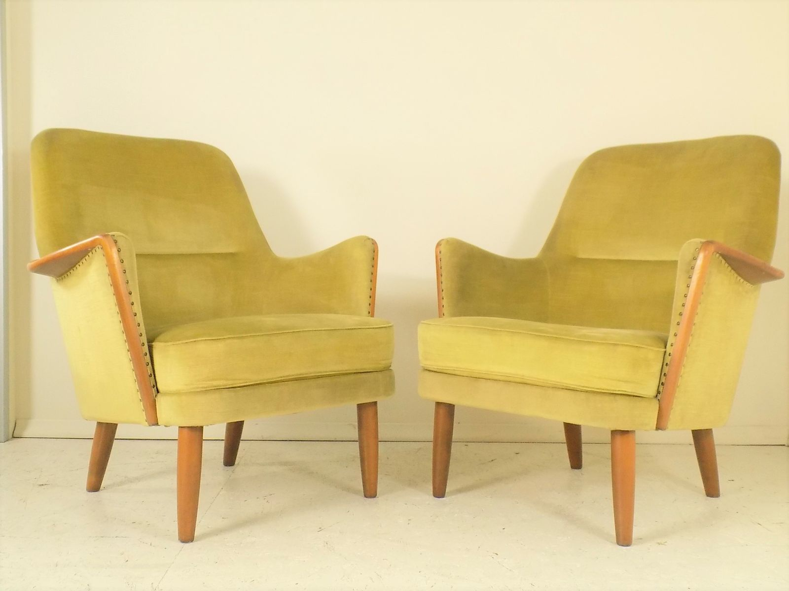 Vintage Beech and Velvet Lounge Chairs 1960s Set of 2 for sale