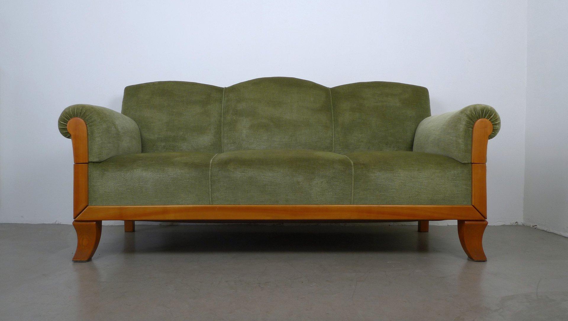 3 sitzer sofa aus kirschholz von joseph kreuzburg 1930er bei pamono kaufen. Black Bedroom Furniture Sets. Home Design Ideas