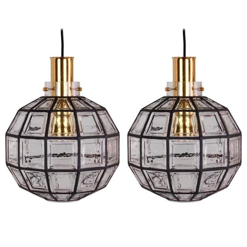 gro e lampen aus eisen glas von glash tte limburg 1965. Black Bedroom Furniture Sets. Home Design Ideas