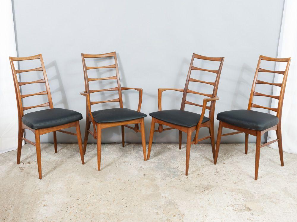 d nische teak st hle mit lamellen r ckenlehne von niels koefoed f r koefoed hornslet 8er set. Black Bedroom Furniture Sets. Home Design Ideas