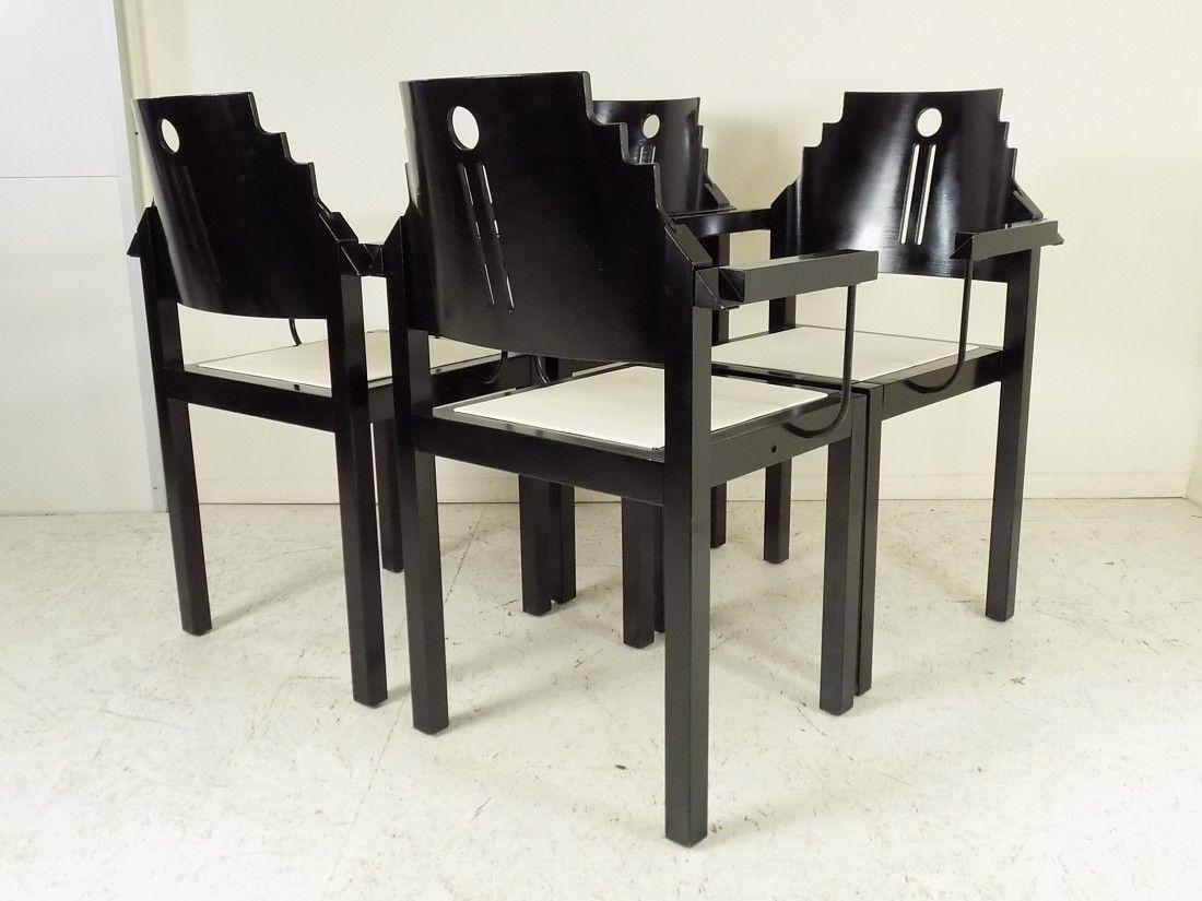 schwarz wei e st hle von thonet 1990 4er set bei pamono kaufen. Black Bedroom Furniture Sets. Home Design Ideas