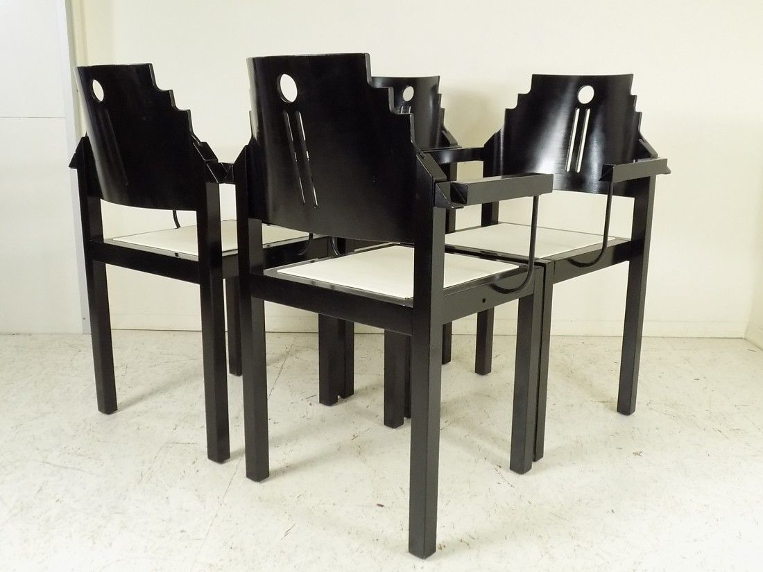 schwarz wei e st hle von thonet 1990 4er set bei. Black Bedroom Furniture Sets. Home Design Ideas
