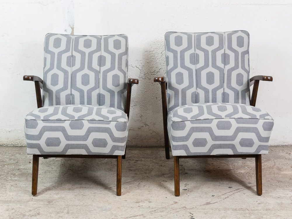 Czech Armchairs In Grey U0026 White Fabric, 1940s, Set Of 2