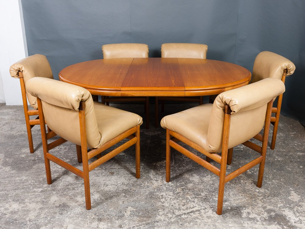 dining table six chairs from white newton 1960s for sale at pamono. Black Bedroom Furniture Sets. Home Design Ideas