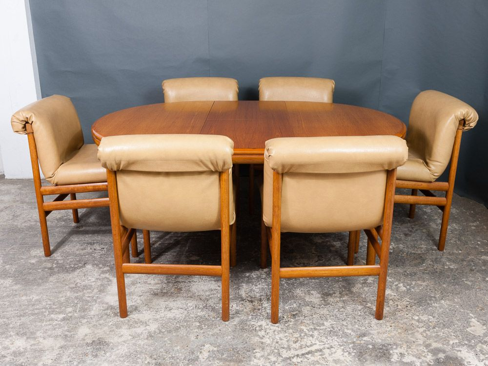 Dining table six chairs from white newton 1960s for for Dining room table with 6 chairs