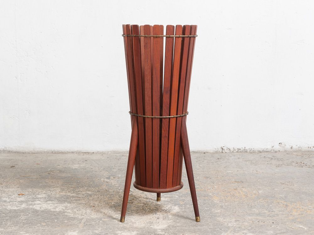 Wooden slatted umbrella stand s for sale at pamono