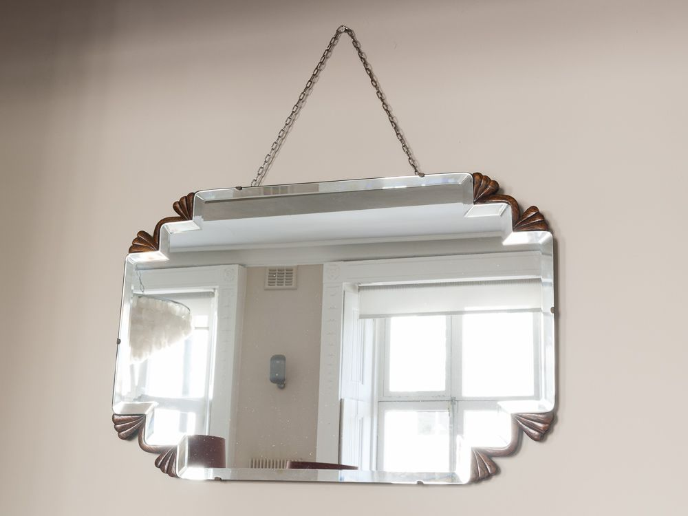 Art deco bevelled rectangular hanging mirror 1930s for for Hanging mirror