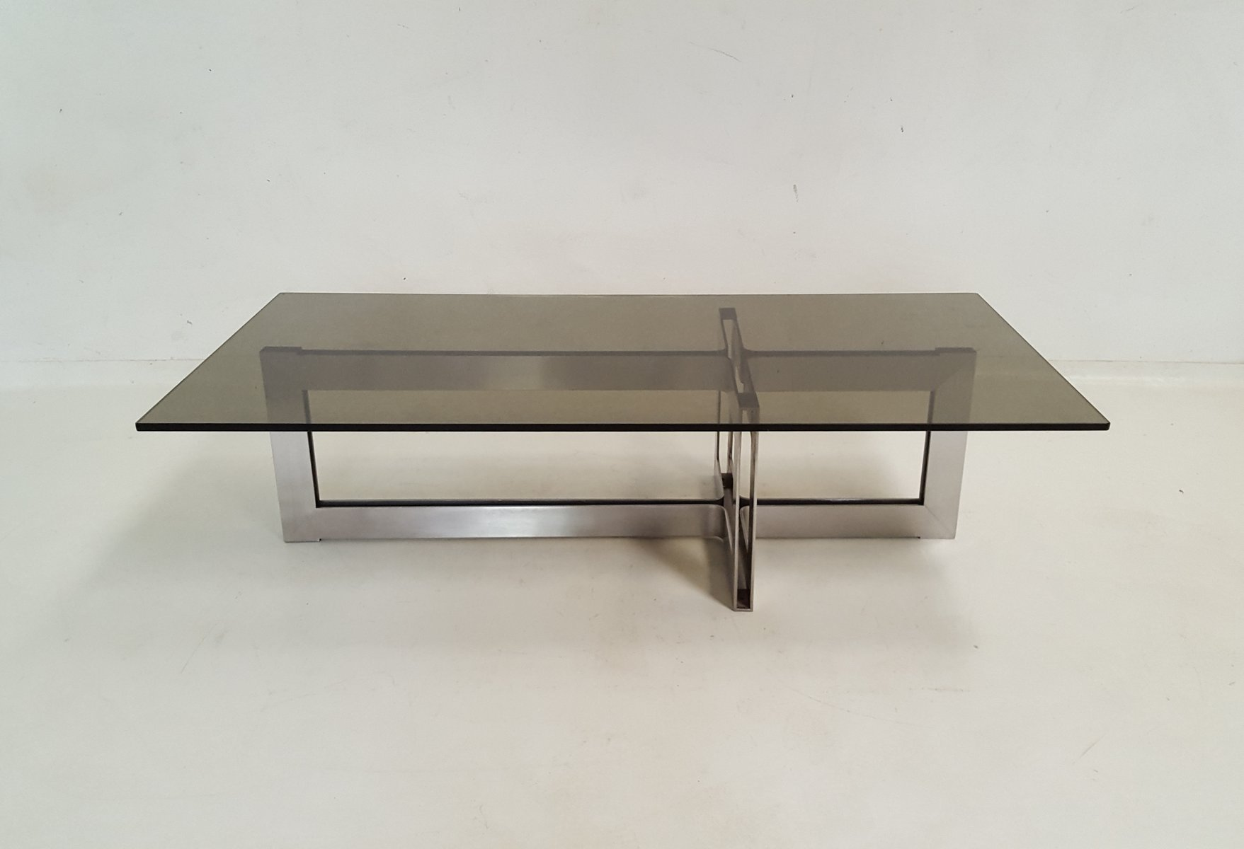 Stainless Steel And Glass Coffee Table 1970s For Sale At Pamono