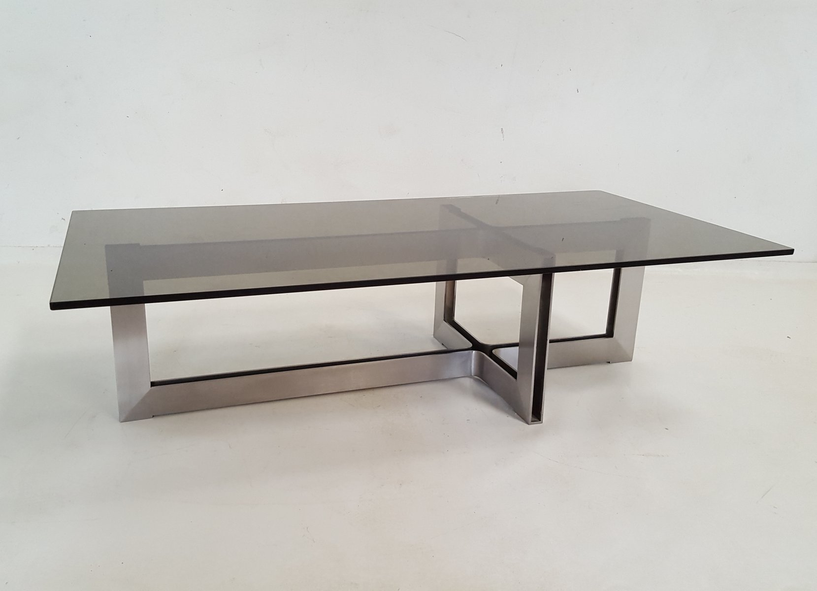 couchtisch aus edelstahl glas 1970er bei pamono kaufen. Black Bedroom Furniture Sets. Home Design Ideas