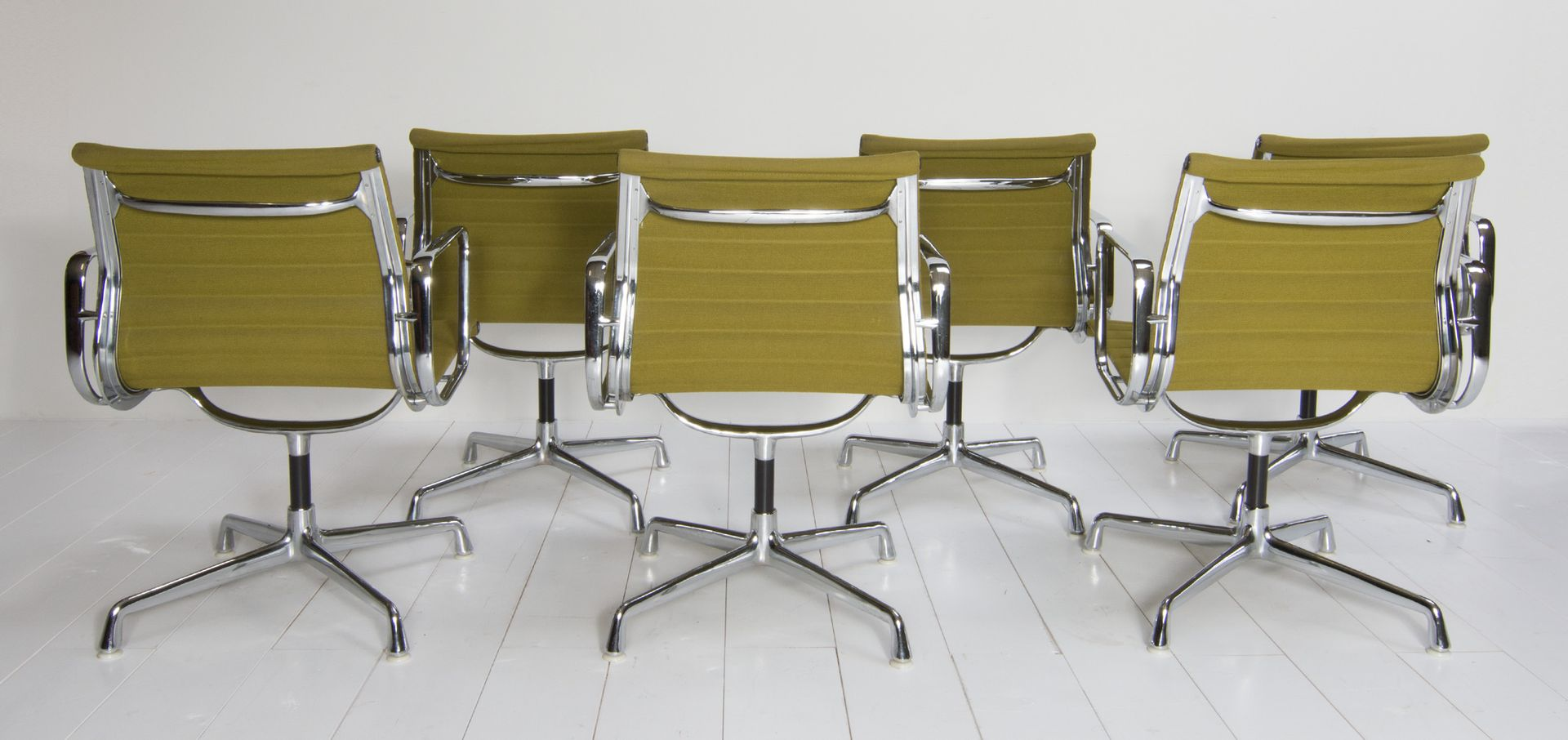 vintage ea108 chairs by charles ray eames for vitra set of 6 for sale at pamono. Black Bedroom Furniture Sets. Home Design Ideas