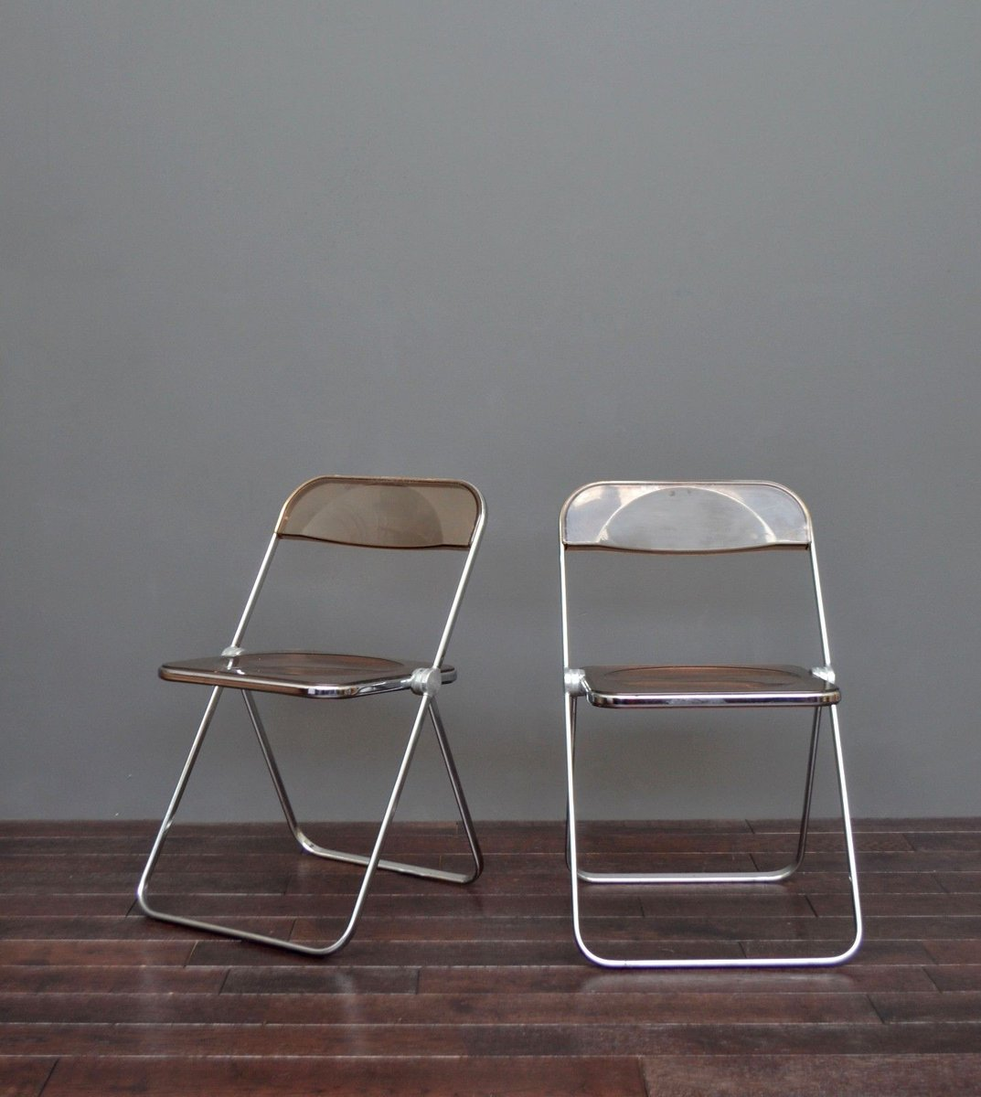 Chrome U0026 Perspex Folding Chairs By Giancarlo Pirett For Castelli, 1960s,  Set Of 2 For Sale At Pamono