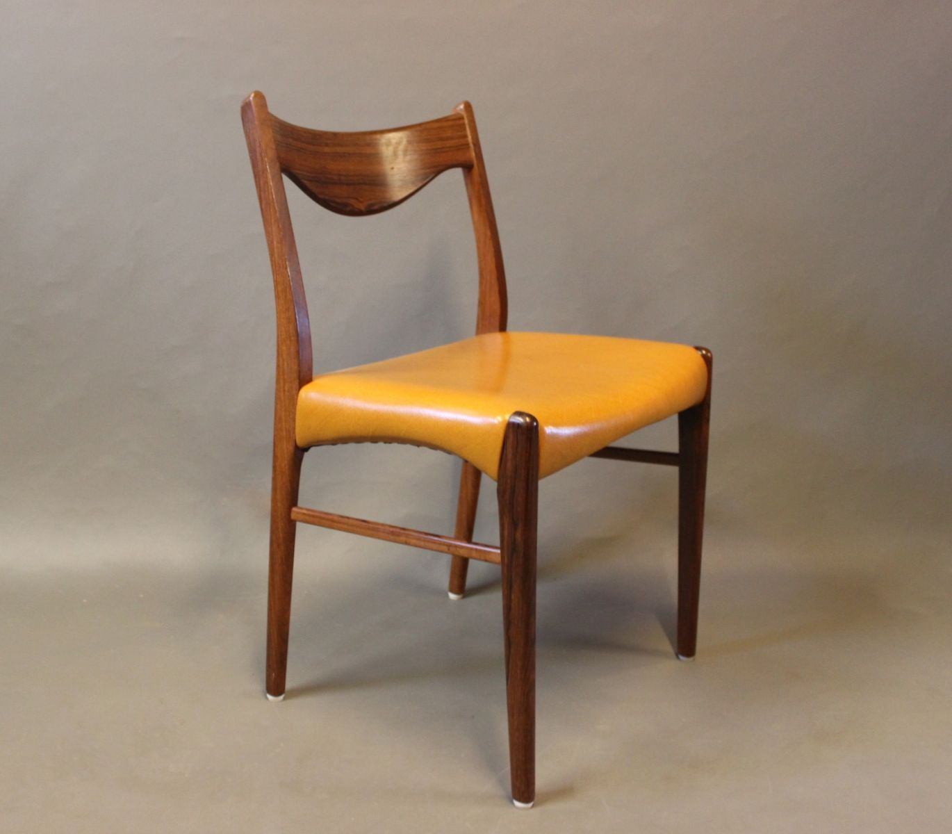 Rosewood leather dining chairs 1960s set of 6 for sale for Leather kitchen chairs for sale