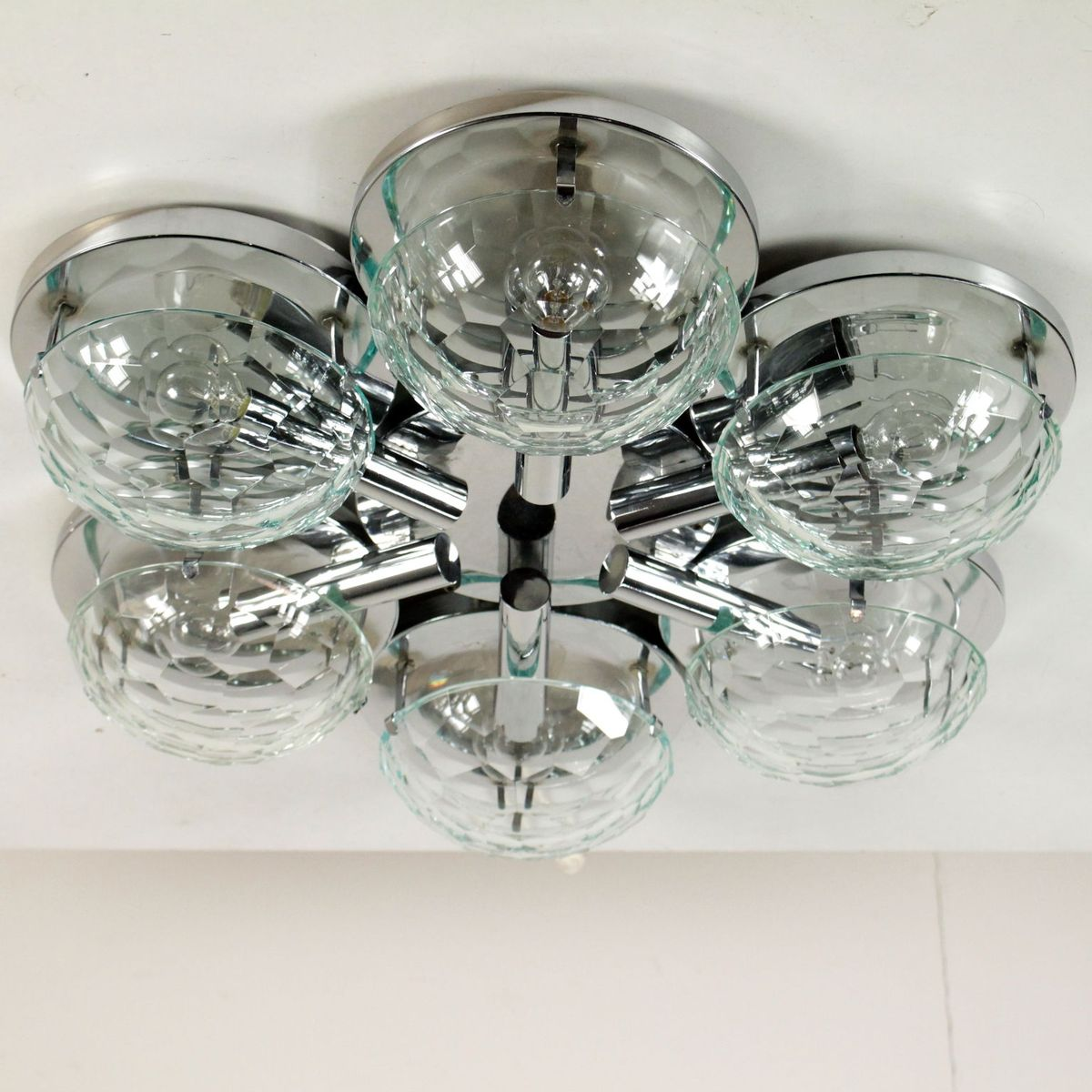Wall Lamp in Chromed Metal & Glass, 1960s for sale at Pamono
