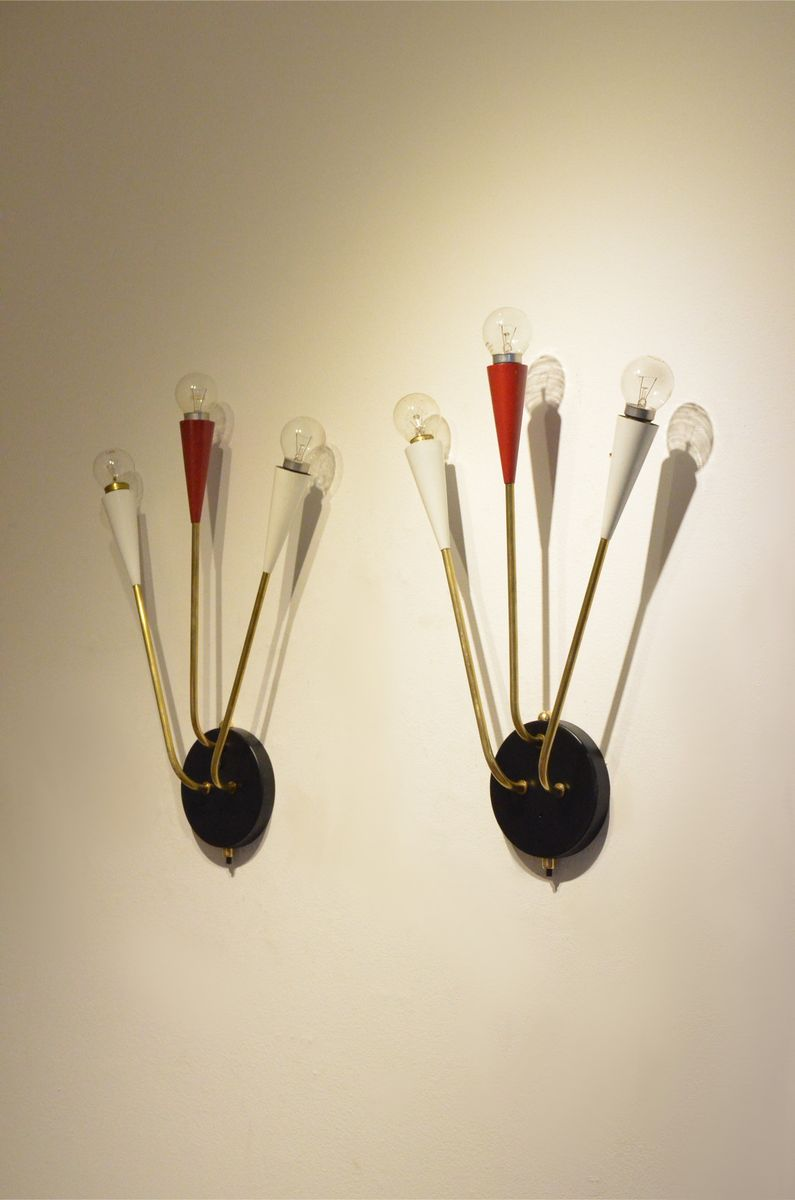 Wall Sconces Set Of 2 : French Minimalist Tricolor Metal & Brass Wall Sconces, 1950s, Set of 2 for sale at Pamono