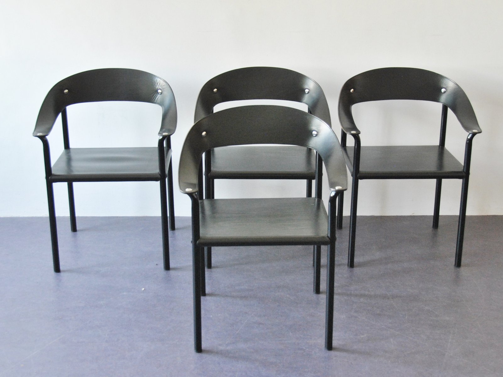 Vintage Black Leather Lacquered Metal Dining Chairs Set Of 4