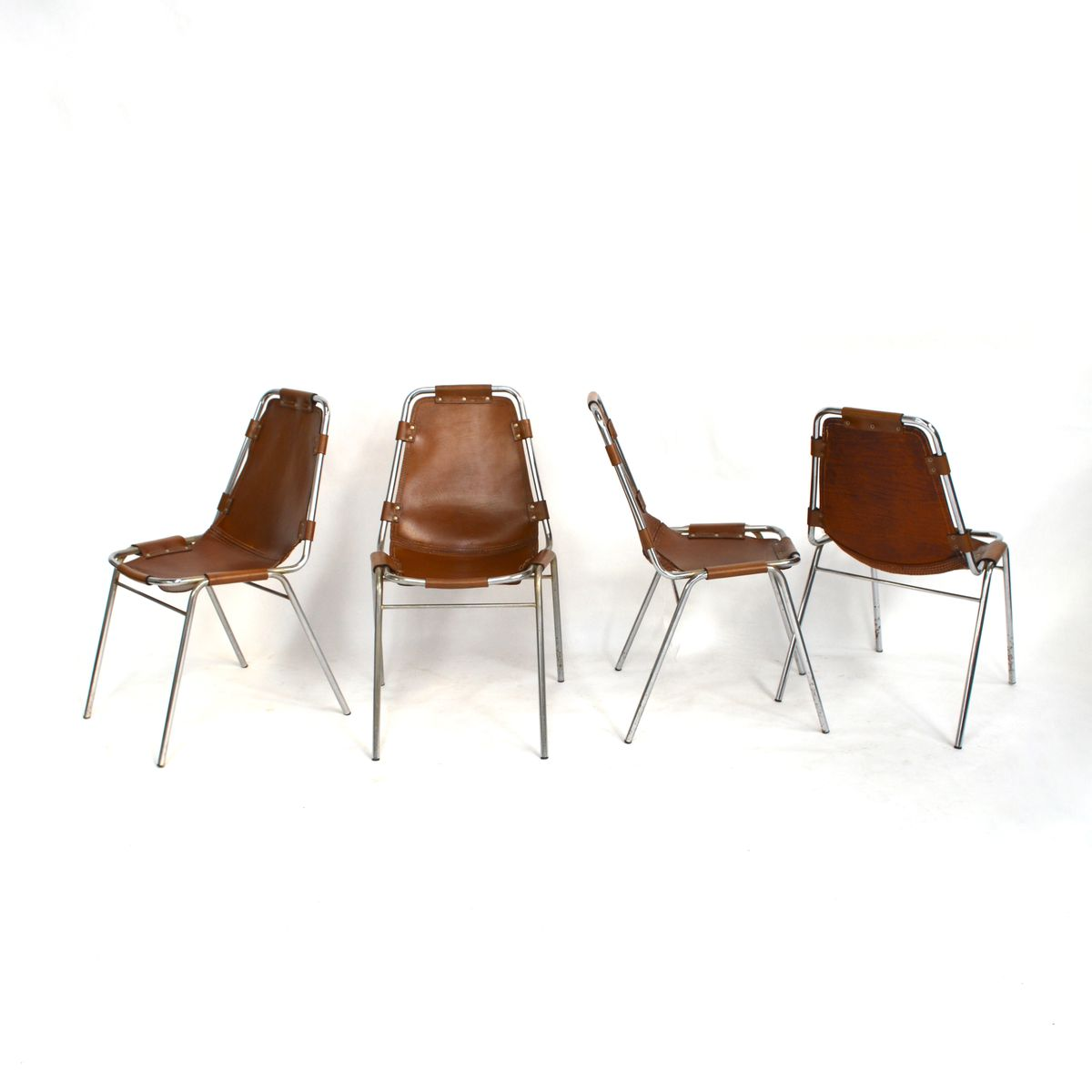 les arcs chairs by charlotte perriand 1970s set of 4 for sale at pamono. Black Bedroom Furniture Sets. Home Design Ideas