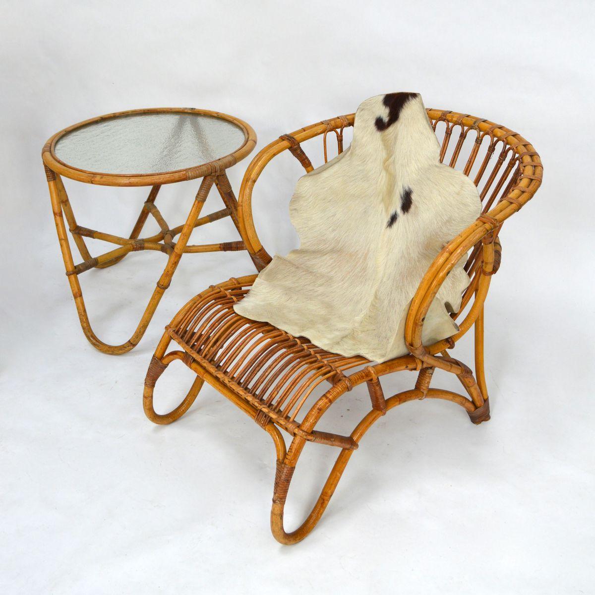 rattan gartenm bel von roh noordwolde 1950er bei pamono. Black Bedroom Furniture Sets. Home Design Ideas