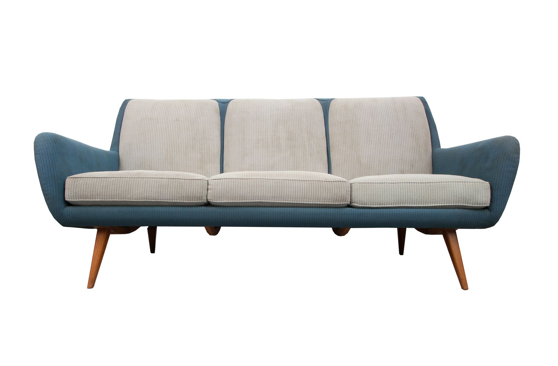 Sofa in Pigeon Blue-Light Gray, 1950s for sale at Pamono