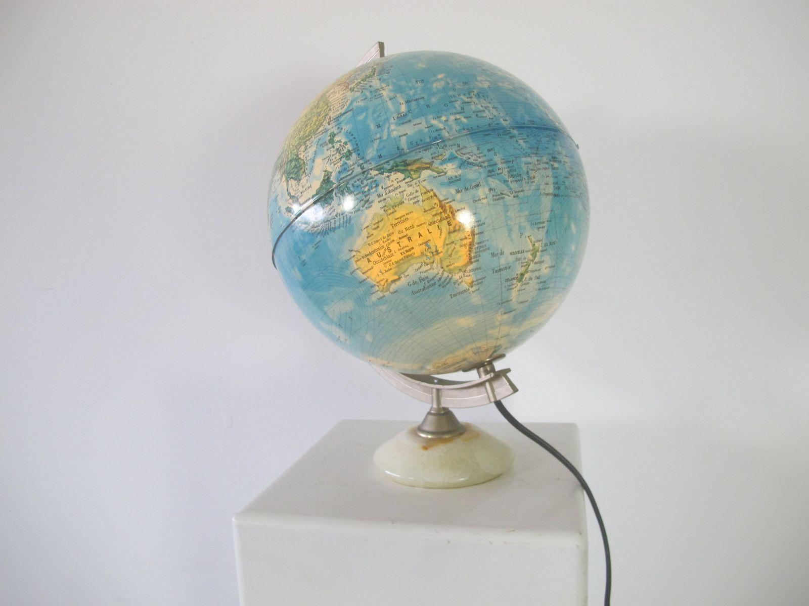beleuchteter vintage globus aus marmorfu 1970er bei. Black Bedroom Furniture Sets. Home Design Ideas
