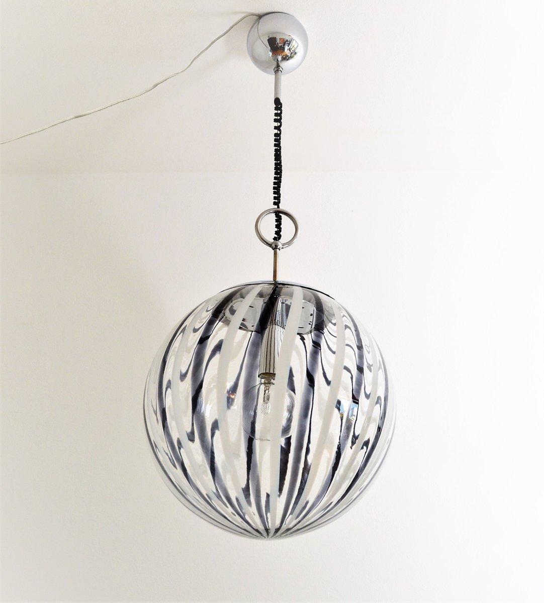 murano black u0026 white glass globe pendant light 1970s
