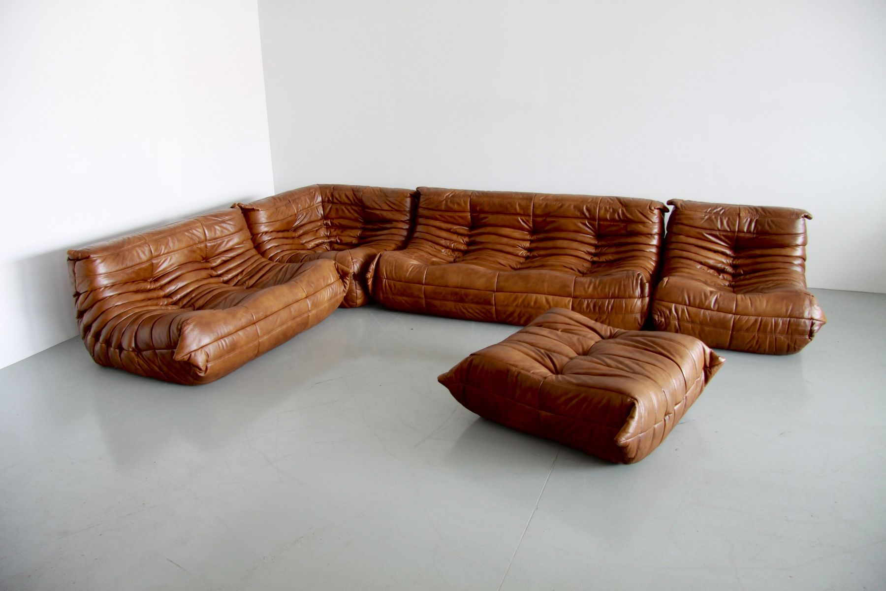 vintage coniac leather togo living room set by michel. Black Bedroom Furniture Sets. Home Design Ideas