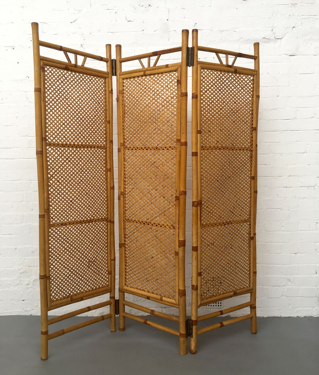 Dutch Rattan Bamboo Foldable Room Divider 1960s Dutch Rattan Bamboo Foldable Room