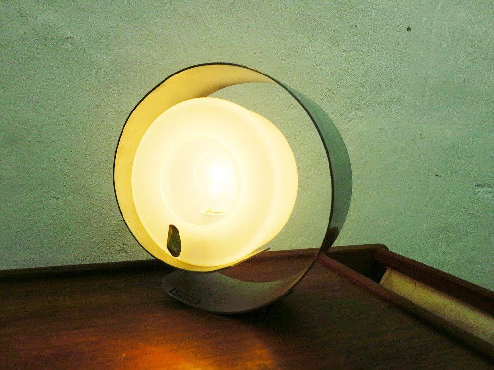 glas aluminium tischlampe von pierre cardin 1960er bei. Black Bedroom Furniture Sets. Home Design Ideas