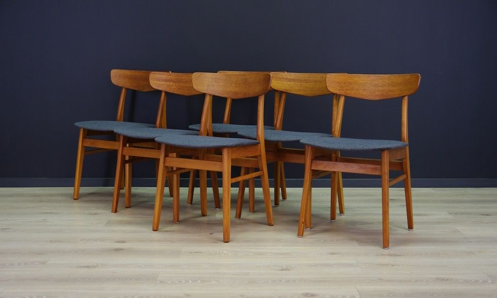 Mid Century Danish Teak Chairs, Set Of 6