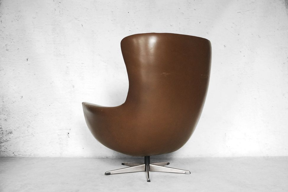 Mid Century Modern Leather Egg Shaped Chair 1960s For