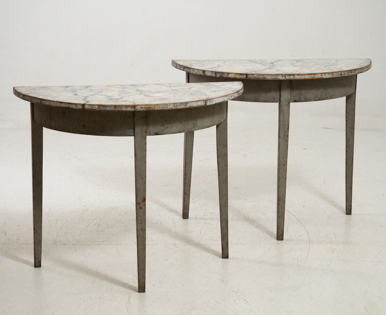 Gustavian demi lune tables 1820s set of 2 for sale at pamono for Chaise demi lune