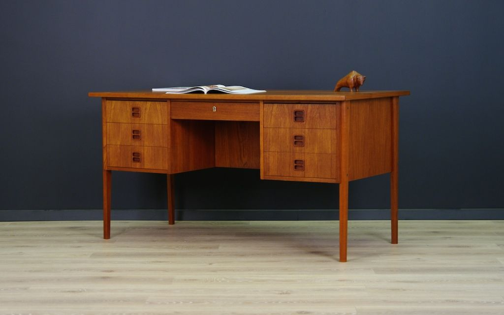 mid century scandinavian teak veneered desk bei pamono kaufen. Black Bedroom Furniture Sets. Home Design Ideas