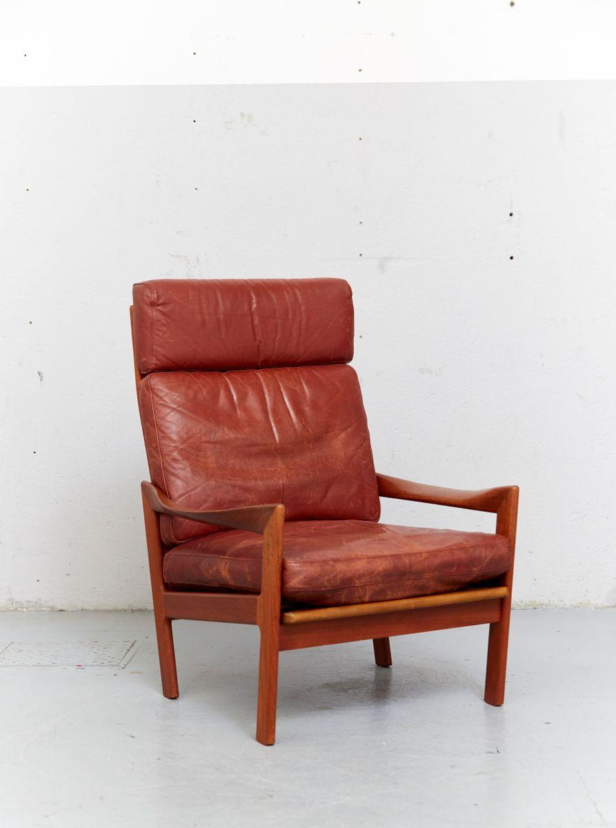 mid century sessel mit hoher r ckenlehne von illum. Black Bedroom Furniture Sets. Home Design Ideas
