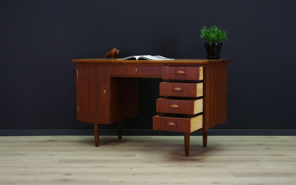 d nischer mid century teak furnier schreibtisch bei pamono. Black Bedroom Furniture Sets. Home Design Ideas