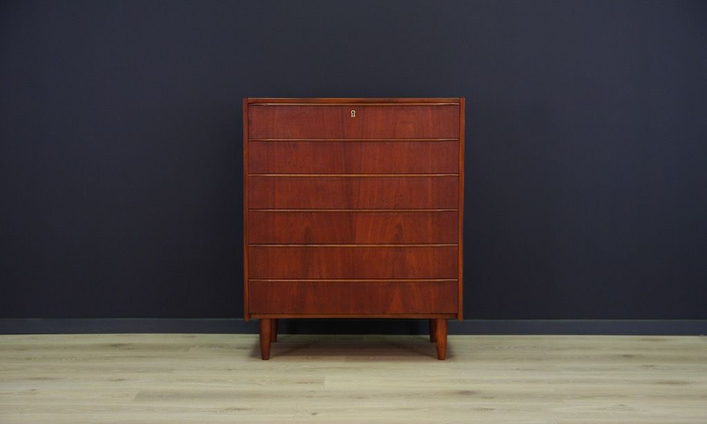 skandinavische mid century teak furnier kommode bei pamono kaufen. Black Bedroom Furniture Sets. Home Design Ideas