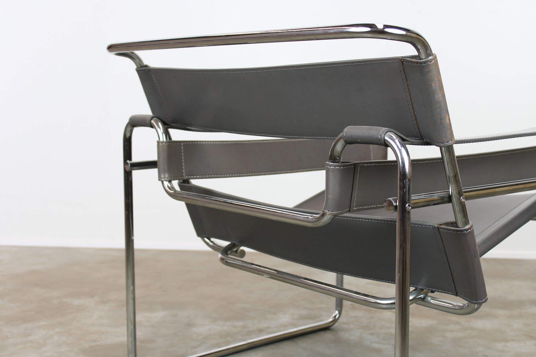 Grey Leather Wassily Chairs by Marcel Breuer 1970s Set of 2 for