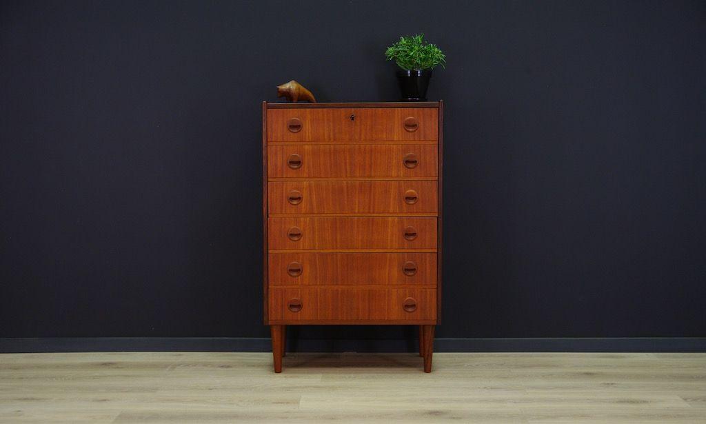 skandinavische mid century teak furnier kommode bei pamono kaufen. Black Bedroom Furniture Sets. Home Design Ideas