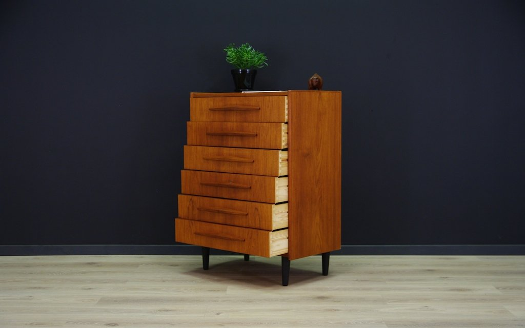 skandinavische moderne mid century teak kommode bei pamono kaufen. Black Bedroom Furniture Sets. Home Design Ideas