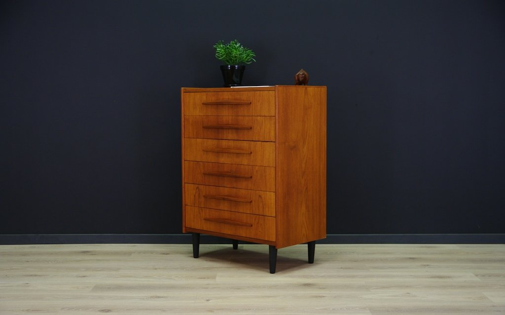 skandinavische moderne mid century teak kommode bei pamono kaufen. Black Bedroom Furniture Sets. Home Design Ideas