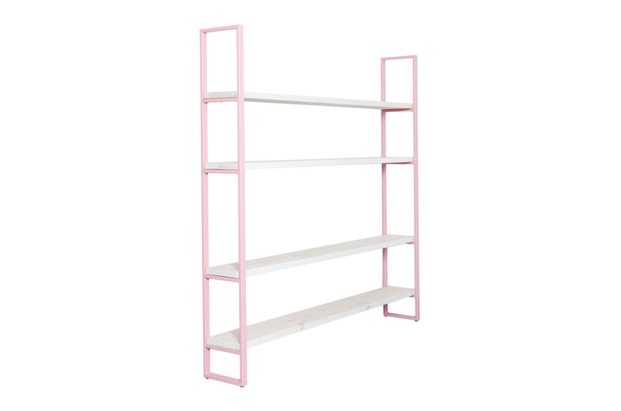 rosa regal aus pulverbeschichtetem stahl bauholz von johanenlies 2017 bei pamono kaufen. Black Bedroom Furniture Sets. Home Design Ideas